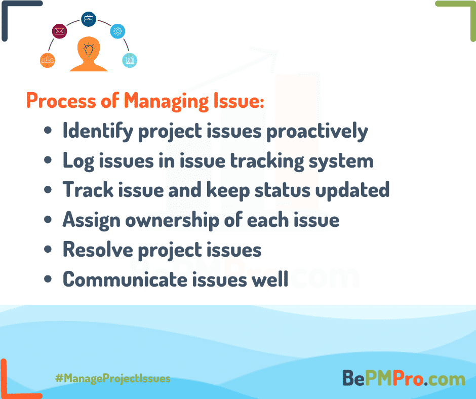 Issue management includes identifying, logging, tracking and resolving. –